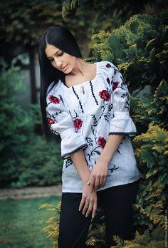 """Купить Вышитая белая блуза из льна """"Ветки пиона"""" - белый, рисунок, Вышитая блуза"""