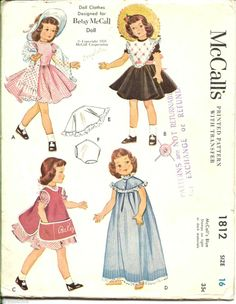 """16"""" Betsy McCall Doll Clothes Pattern 1953 McCalls 1812 COMPLETE not a copy"""