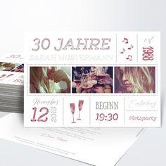 Geburtstagseinladungen Terminsache 30 Detail – Invitation Ideas for 2020 Fun Wedding Invitations, Birthday Invitations, Shopkins, Appointments, Invitation Design, Stampin Up, Easy Diy, About Me Blog, Invitations