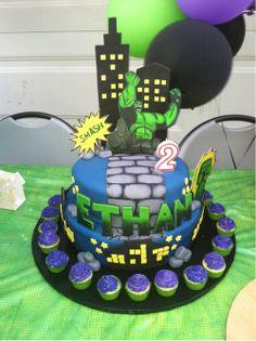 Hulk cake - love this! sky line Hulk Birthday Cakes, Hulk Birthday Parties, 2nd Birthday, Cupcake Party, Cupcake Cakes, Cupcakes, Hulk Cakes, Marvel Cake, Avenger Cake