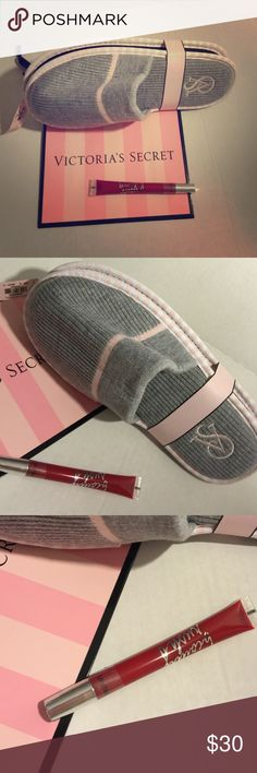 Bundle - Victoria's Secret size 9-10 sleepers Victoria's Secret perfect set- bundle / Victoria's Secret sleepers & lip gloss Eternal Flame - comes with Victoria's Secret paper bag - perfect all together❤️ Victoria's Secret Shoes Slippers
