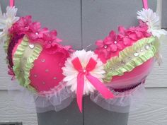 Pink, Green and White Rave / Costume Bra / EDC Bra on Etsy, $40.00