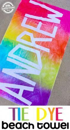 Make your kids a tie dye beach towel with their name on it! Simple and FUN DIY activity. So much fun for a summer spent the pool or the beach! Sponsored by kids summer activities Personalized Tie Dye Beach Towels Fête Tie Dye, Tie Dye Party, How To Tie Dye, Kids Tie Dye, Summer Crafts For Kids, Summer Activities For Kids, Summer Diy, Kids Fun, Summer Ideas Kids