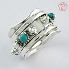 BEAUTIFUL TURQUOISE STONE 925 STERLING SILVER SPINNER RING JEWELRY S.6 US R3872 #SilvexImagesIndiaPvtLtd #Spinner