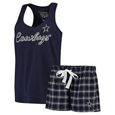 Dallas Cowboys Women's Navy Bell Boxer Set: Show off your Cowboys pride by wearing these comfortable tank and shorts set! With it's comfort and the bold design, there will be no question who you will be rooting for this season at anytime. Dallas Cowboys Gifts, Dallas Cowboys Outfits, Dallas Cowboys Women, Cowboy Outfits, Dallas Cowboys Football, Cute Outfits, Cowboys 4, Cowboy Shoes, Cowboy Gear