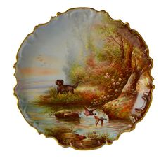 French Antique Hand Painted Paris Porcelain Wall Hanging Plate - Hunting Dog Limoges - Painting Hunting Game 19th.c