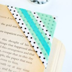 Step-by-step directions to make a washi tape bookmark.