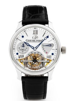 Greubel Forsey – Double Tourbillon 30 ° Vision. Designed in 2006, this rare chronograph in white gold with a double tourbillon is estimated at $200,000 – 300,000.