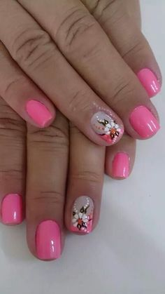 Uñas Flower Nail Designs, Diy Nail Designs, Flower Nail Art, Nail Polish Designs, Fabulous Nails, Gorgeous Nails, French Tip Nail Art, Boxing Day, Chrome Nails