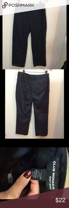"""CLUB MONACO Black Smart Pant Cropped Pants 30 x 27 Make this yours! Pair of Black Club Monaco chino Smart Pants. Two side pockets and two back pockets.  The Measurements:  Waist: 30"""" Inseam: 27"""" Legopening(ankle): 8""""  Condition: Pre-owned with no signs of wear. Club Monaco Pants Chinos & Khakis"""