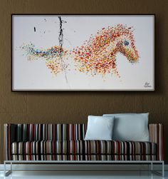LArge Horse Painting 72 , Oil Painting , Powerful Large Painting , Original Handmade , Certificate Attached , By Koby Feldmos