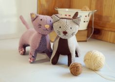 Wool Cat soft toys: beige/brown and vintage pink.  Ecofriendly stuffed animal made with recycled sweaters. Kitten softie.