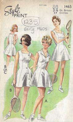 1960s Vintage Sewing Pattern B36 TENNIS DRESS (1235)