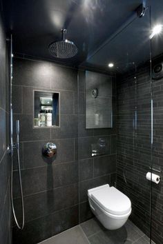 12 Incredible Black Bathroom Shower Ideas For Small Bathroom 3 Small Dark Bathroom, Small Wet Room, Wet Room Bathroom, Small Shower Room, Dark Bathrooms, Bathroom Layout, Modern Bathrooms, Bathroom Ideas, Shower Ideas