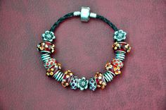Colorful European bead suede cord bracelet, simple beaded bracelet