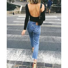 Top: tumblr long sleeves open back backless backless denim jeans blue jeans bag black bag cropped