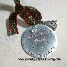 Handstamped Christmas Ornament/CHristmas by EternityDesignsDria, $15.00