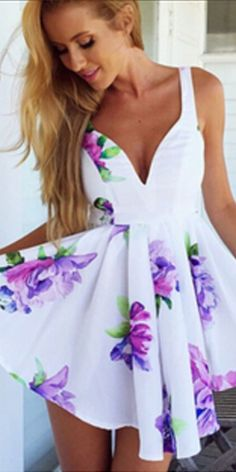 Lush Lilac White Purple Green Floral Sleeveless V Neck Skater Circle A Line Flare Mini Dress Elegant Dresses, Sexy Dresses, Casual Dresses, Fashion Dresses, Prom Dresses, Sleeveless Dresses, Trendy Dresses, Strapless Dress, Playsuit Dress