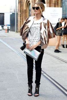 5 Style Rules to Live By When Wearing Metallic. A how to guide on how to wear the metallic fashion trend without looking tacky or too shiny! www.svadore.com  Tip #3 The metallic moto jacket