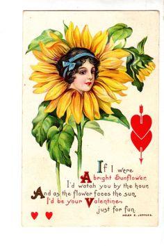 US2182 Postcard Artist Designed Flower Woman Brown Eyed Susan Valentine