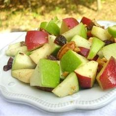 "Waldorf Salad with Walnut Oil Vinaigrette | ""A wonderful light Waldorf Salad with no mayo. The flavors of the apples, walnuts and raisins are so clean and fresh. It never fails to please."" http://allrecipes.com/recipe/waldorf-salad-with-walnut-oil-vinaigrette/Detail.aspx"