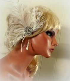 Check out this item in my Etsy shop https://www.etsy.com/listing/217886200/wedding-fascinator-ivory-bridal-hair