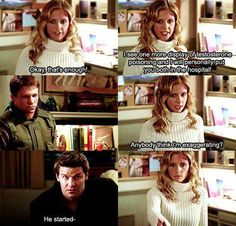 Buffy-love the look And gives Riley as they go out into the hall