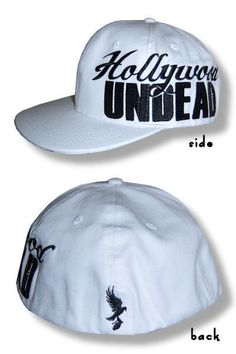 Hollywood Undead-NEW Logo FLAT BILL WHITE Hat / Cap- OSFA FREE SHIPPING TO U.S.!