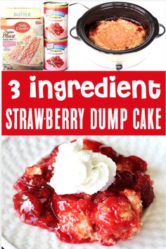 Strawberry Cake Desserts Recipe - Easy Slow Cooker Dump Cake!  The sweet strawberries + buttery crumble topping make this a tasty treat the whole family will LOVE. Just dump it in your slow cooker and walk away!  Go grab the recipe and give it a try this week!