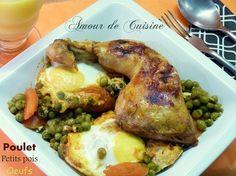 tajine de poulet aux petits pois et oeufs, cuisine algerienne    http://www.amourdecuisine.fr/article-poulet-aux-petits-pois-et-aux-oeufs-104578606.html