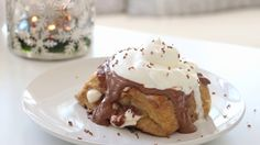 This French toast is stuffed with chocolate and marshmallows and soaked in hot chocolate. This would make a delicious dessert or an indulgent breakfast on a special day!