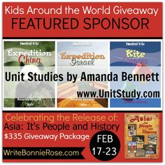 Thank you @Ginny Lockhart Studies by Amanda Bennett  for sponsoring my Kids Around the World Giveaway!  Learn more about Amanda's awesome unit studies here ---> http://unitstudy.com/  To enter our $335 giveaway, go here ---> http://writebonnierose.com/asia-its-people-and-history-giveaway/  #homeschool #unitstudies