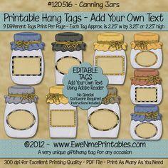 Digital Hang Tags - Canning Jars