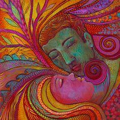Acrylique, glitter, pastel gras sur toile 60/60cm. Des amoureux mystiques....Patricia Mouton.