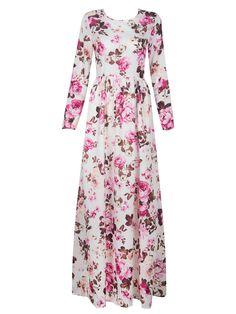 Multicolor Floral Long Sleeve High Waist Maxi Dress