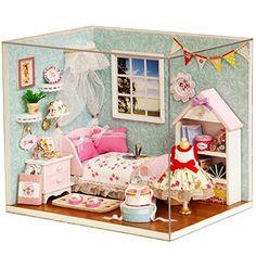 Dollhouse Miniature DIY Wood Kit Dolls house with Cover a...  -  $13.31 + $3.59