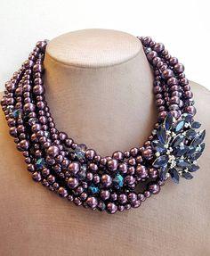 8f70914554b Purple multistrand glass pearl necklace