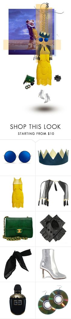 """""""Untitled #818"""" by sophielovesblue ❤ liked on Polyvore featuring Matthew Williamson, Naeem Khan, Chanel, Black, TC Fine Intimates, Vetements, Alexander McQueen and yellowdress"""