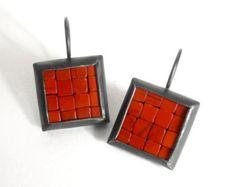 Mosaic Earrings Rectangular Earrings Red Jasper от Artesserae