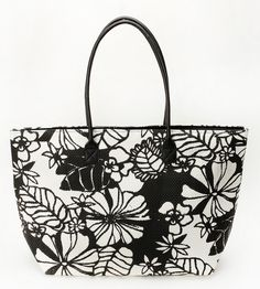Black and white flower tote bag