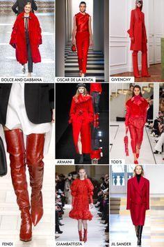 Fall 2017 runways painted the town red with pieces featuring red hot jumpsuits to deep romantic red knee high boots.