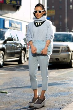 Pin for Later: Flashback Friday: NYFW Street Style Stars Trekked Through the Snow For Fashion NYFW Street Style Day 5 She perfected the tone-on-tone look in soft shades of powder blue.