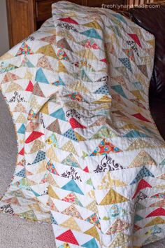 """Freshly Handmade: Flying Geese Quilt Cathy says, """"I like the white background. Truly 'Fresh'!"""""""