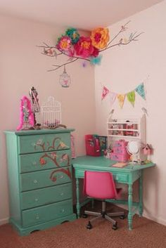 Turquoise Dresser & Desk