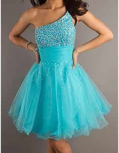 2012 Blue Short Homecoming Dresses/ One Shoulder Prom Dresses for Homecoming