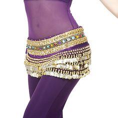 desempenho dancewear poliéster 248 moedas de cinto de dança do ventre para senhoras mais cores – BRL R$ 37,47