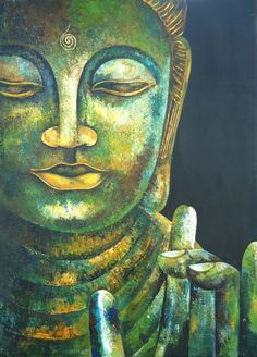 """""""When we let go of our battles and open our hearts  to things as they are, then  we come to rest in the present moment.  This is the beginning and the end of spiritual practice.""""     ~ Jack Kornfield  Buddha in Karana Mudra Original Acrylic Painting by SLArtShop"""