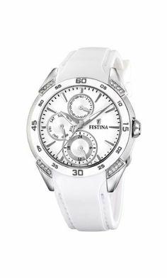 Festina Multifunction Crystal Accents Ceramic Bezel White Dial Women's watch #F16394/1 Festina. $151.31. Rubber Strap. White Dial. Crystals. Day & Date Display. Ceramic