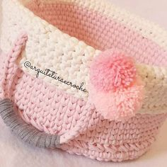 Fast Crochet, Crochet Bowl, Diy Crochet, Crochet Hats, Finger Knitting, Loom Knitting, Rag Rug Tutorial, Crochet T Shirts, Baby Girl Nursery Decor