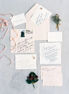 Blush calligraphy invitation suite: http://www.stylemepretty.com/2016/03/20/spring-preview-every-detail-you-need-to-see-this-season/